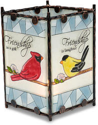 "Friendship by Peace Love & Birds - 3"" x 4.5""Glass Candle Holder"