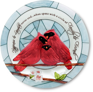 "Happiness by Peace Love & Birds - 10"" Glass Candle Plate"