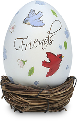 "Friend by Peace Love & Birds - 3.25""Decor Egg w/Rattan Nest"