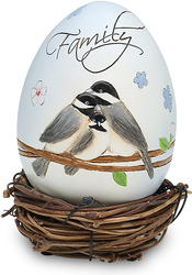 "Family by Peace Love & Birds - 3.25""Decor Egg w/Rattan Nest"