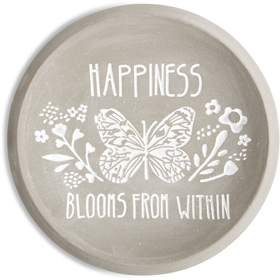 "Happiness by Bless My Bloomers - Happiness - 5"" Cement Keepsake Dish"