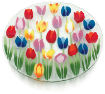 "Tulip Garden by Fusion Art Glass - 14"" Ribbed Bowl"