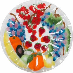 "Fruit Medley by Fusion Art Glass - 14"" Ribbed Bowl"