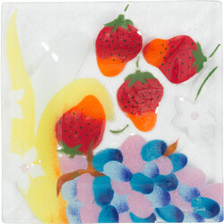 "Fruit Medley by Fusion Art Glass - 7"" Square Plate"