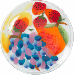 "Fruit Medley by Fusion Art Glass - 8"" Round Plate"
