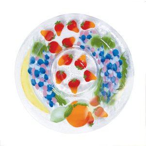 "Fruit Medley by Fusion Art Glass - 13"" Chip & Dip"