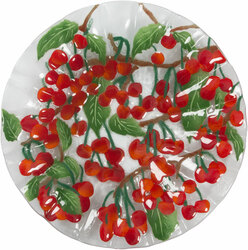 "Cherries Jubilee by Fusion Art Glass - 14"" Ribbed Bowl"