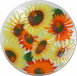 "Radiating Sunflowers by Fusion Art Glass - 14"" Round Plate"