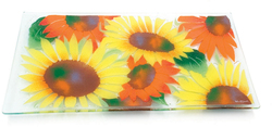 "Radiating Sunflowers by Fusion Art Glass - 15""x8"" Serving Tray"