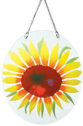 "Radiating Sunflowers by Fusion Art Glass - 7""  Sun Catcher"