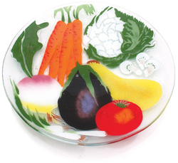 "Vegetable Medley by Fusion Art Glass - 14"" Round Plate"