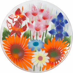 "Wild Flowers by Fusion Art Glass - 14"" Round Plate"