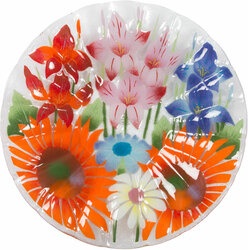 "Wild Flowers by Fusion Art Glass - 14"" Ribbed Bowl"