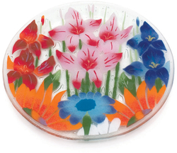"Wild Flowers by Fusion Art Glass - 11"" Round Plate"