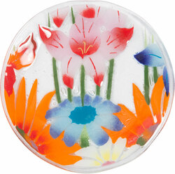 "Wild Flowers by Fusion Art Glass - 8"" Round Plate"