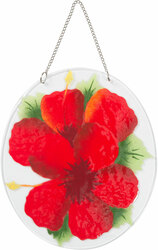 "Hibiscus by Fusion Art Glass - 7"" Sun Catcher"