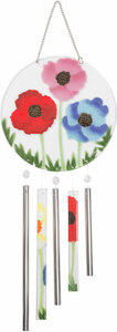 "Poppy Passion by Fusion Art Glass - 8"" Wind Chimes"