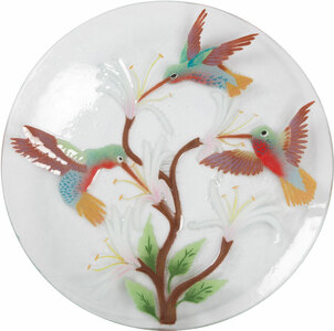 "Hummingbirds by Fusion Art Glass - 14"" Round Plate"