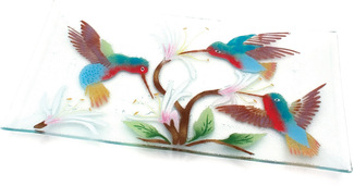 "Hummingbirds by Fusion Art Glass - 15""x8"" Serving Tray"