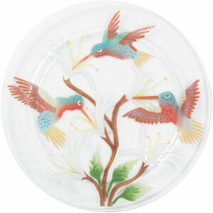 "Hummingbirds by Fusion Art Glass - 11"" Round Plate"