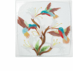 "Hummingbirds by Fusion Art Glass - 10"" Square Plate"