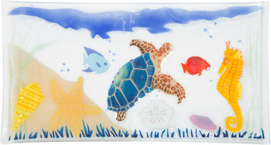 "Under the Sea by Fusion Art Glass - Under the Sea - 15"" x 8"" Serving Tray"