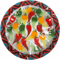"Chili Peppers by Fusion Art Glass - 14"" Ribbed Bowl"