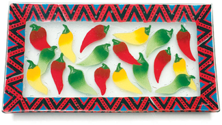 "Chili Peppers by Fusion Art Glass - 15"" X 8"" Serving Tray"