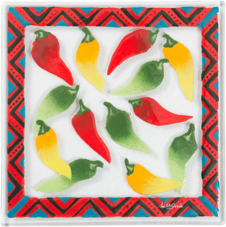 Chili Peppers 7 Quot Square Trivet Fusion Art Glass Pavilion