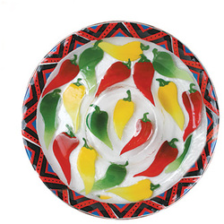 "Chili Peppers by Fusion Art Glass - 13"" Chip & Dip"