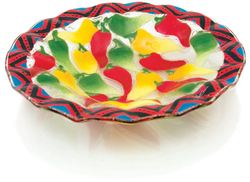 "Chili Peppers by Fusion Art Glass - 9"" Ribbed Bowl"