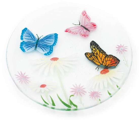 "Butterfly Garden by Fusion Art Glass - Butterfly Garden - 8"" Round Plate"