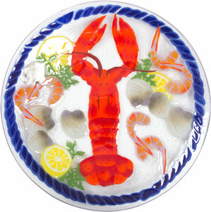 "Lobster Feast by Fusion Art Glass - 14"" Round Plate"