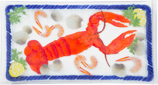 "Lobster Feast by Fusion Art Glass - 15""x8"" Serving Tray"