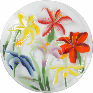 "Lovely Lilies by Fusion Art Glass - 14"" Round Plate"