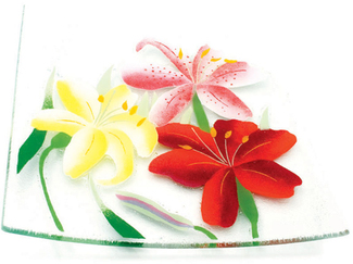"Lovely Lilies by Fusion Art Glass - 10"" Square Plate"