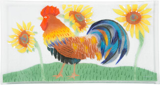 "Country Rooster by Fusion Art Glass - 15""x8"" Serving Tray"