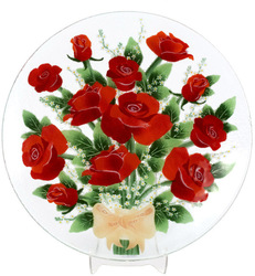 "Rose by Fusion Art Glass - 14"" Round Plate"