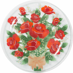 "Rose by Fusion Art Glass - 11"" Round Plate"