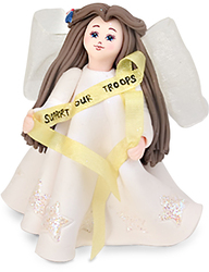"Supporting Our Troops by Kneeded Angels - 3.5"" Angel w/Support Ribbon"