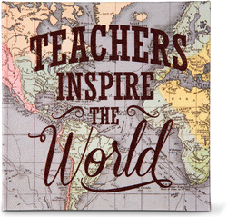 "Teachers by Global Love - 5"" x 5"" Canvas Plaque"