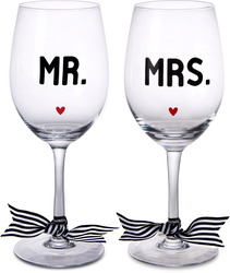 Mr. & Mrs. by The Milestone Collection - 12 Oz Wine Glass (Set of 2)