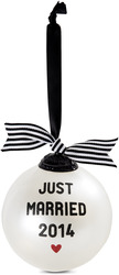 "Just Married 2014 by The Milestone Collection - 4"" Glass Ornament"