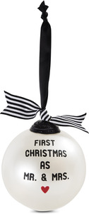 "First Christmas as Mr. & Mrs. by The Milestone Collection - 4"" Glass Ornament"