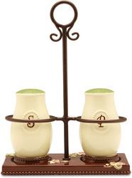 "Salt/Pepper Shakers w/Holder by Shared Blessings - Shakers 4"", Holder 6.5"""