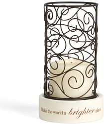 "Brighter Place by Simply Stated - 8""Rnd Votive Holder w/Scroll"