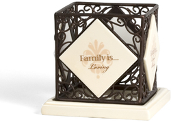 "Family by Simply Stated - 4.25"" Square Candle Holder"