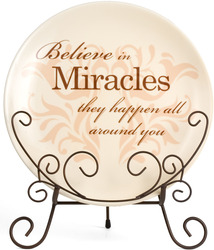 "Miracles by Simply Stated - 8""Plate w/Metal Scroll Stand"