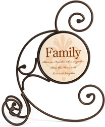 "Bless Our Family by Simply Stated - 10""Cir. Metal Scroll Plaque"