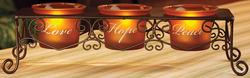 "Love Hope Peace by Simply Stated - 9.75""x2.5"" Candle Holder"